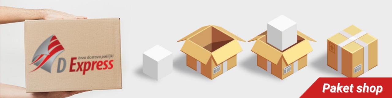 Slanje paketa putem paket shopa. Pošiljke spakovane u pakete.
